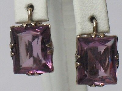 Antique Russian Sterling 875 Silver Ag Earrings Soviet USSR Stone Lilac Big vtg