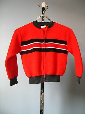 Vintage 1960s Boys Montgomery Ward Red Black Fleece Boys Baseball Jacket