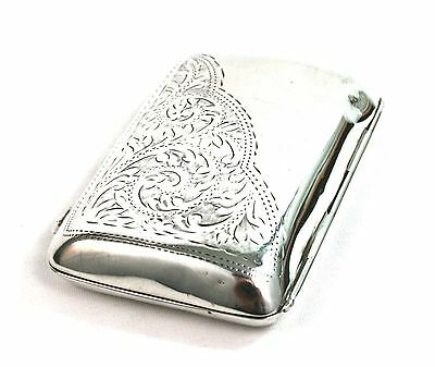 Early 20th C. Sterling Silver Cigarette Case Foliate Ornament Gilt Chester 1919