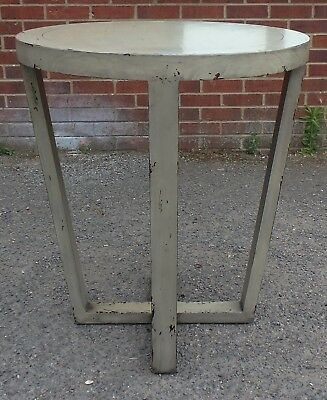 Distressed Art Deco style solid wood lacquered side occasional lamp table