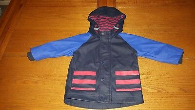 Next Baby Boys Nautical Raincoat - Red Blue Stripes Age 9-12 Months Little Dude.