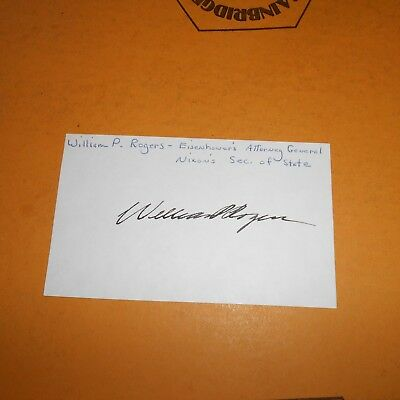 William P. Rogers former United States Attorney General Hand Signed Index Card