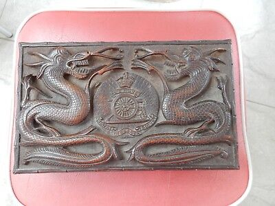 Rfa Carved Treen Ww2 Era Box Hong Kong  4 Claw Dragon  Superb Item China Chinese