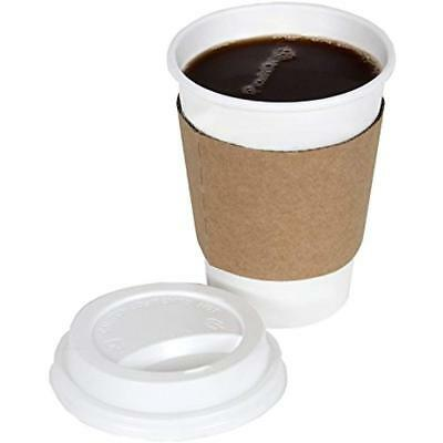 Disposable Drinkware 2dayShip White Paper Hot Coffee Cups With Lids And Sleeves,