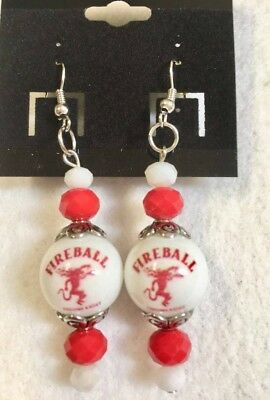 Fireball Whiskey Earrings Cinnamon Glass Beaded Bartender Liquor Waitress