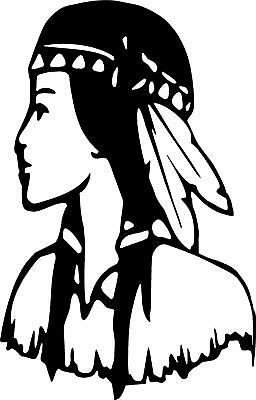 96def835f indian woman female dress feathers girl LEFT OR RIGHT VINYL DECAL STICKER  509