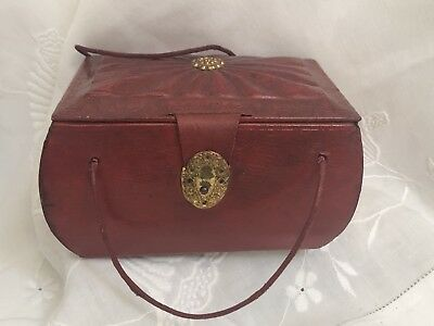 Antique Georgian Regency Red Leather Small Sewing Needlework Box