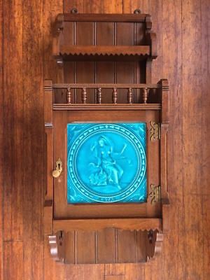 Victorian Modern Gothic Walnut wall cabinet Minton tile Aesthetic Movement 1880s