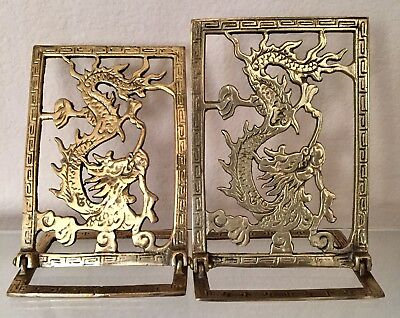 Adjustable Angle Oriental Asian Dragon Brass Metal Bookends Pair