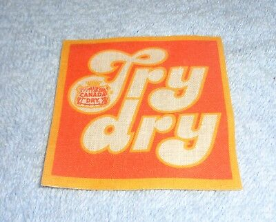 Vintage Canada Dry- Try Dry Iron On Square Patch- NEW Unused