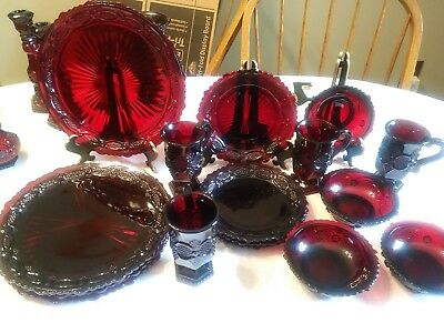 Avon Cape Cod Ruby Red Glass (4)  Berry / Fruit / Dessert Bowls /  Dishes Euc