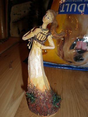 Hand Carved Figurine  With Harp Statue Woman Sculpture Angel Musical Instrument