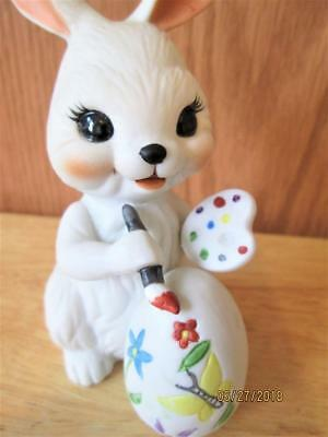 Vintage White Ceramic Easter Bunny Painting Flowers On A Egg Decoration
