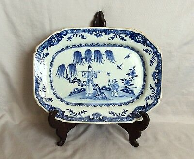 """Chinese 18Th Century Blue And White Platter 12"""""""