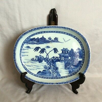 """Chinese 18Th Century Blue And White Oval Platter 11""""1/4"""