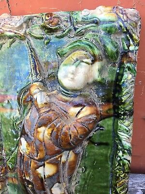 Large Asian Decretive Handmade Tile With Figure Of A Person