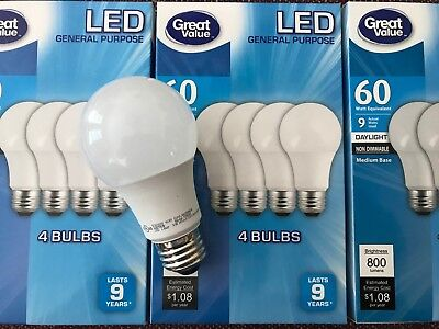 12 Pack LED 60W = 9W Daylight 60 Watt Equivalent A19 5000K light bulb