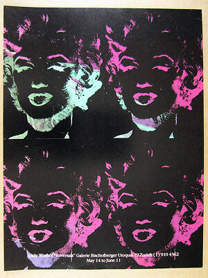 1980 Andy Warhol Four Marilyns Reversal Series Zurich gallery vintage print Ad