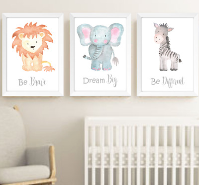 Safari Jungle Animals Nursery Prints Set Of 3, Baby Room Pictures Wall Art Decor