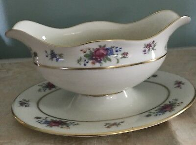 """GRAVY BOAT w/ ATTACHED UNDERPLATE LENOX ROSE J-300 PATTERN GOLD STAMP """"REDUCED"""""""