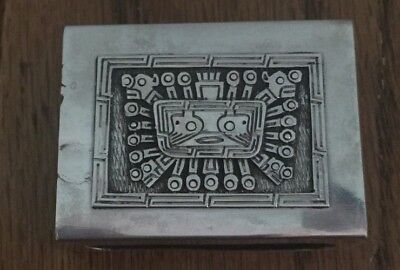 Stunning Silver Match Box Cover With Aztec Panel.