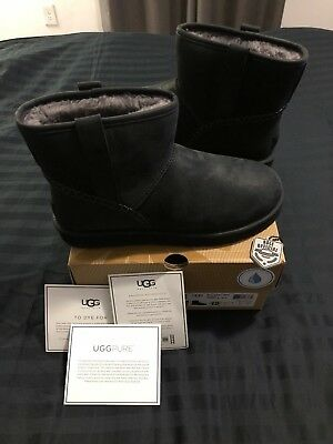 26b96179761 UGG AUSTRALIA MEN'S Classic Mini Stitch Boot Black SZ 12 Water Resistant  sherpa