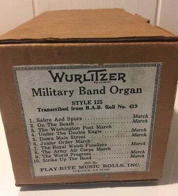 Orig. Wurlitzer Military Band Organ Roll Style 125 Transcribed From B.a.b. #419