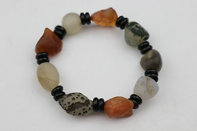 Handwork Collectable Natural Old Agate Carve Natural Texture Bead Lucky Bracelet