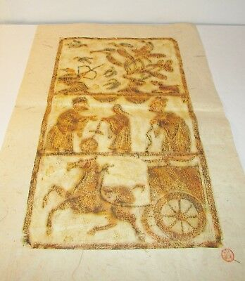 Vintage Chinese 3 Scene Stone Rubbing Art Chariot Bird Hunter Rice Paper Signed