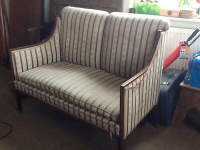Edwardian sprung two seater settee inlaid