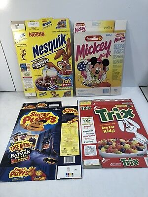 1990s Cereal Box Lot Of 4 Nesquick - Mickey-trix - Sugar Puffs