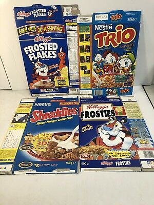 1990s Cereal Box Lot Of 4 Trio-frosted Flakes - Shreddies- Frosties