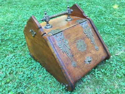 Aesthetic Movement Modern Gothic 1870s Gothic walnut & brass coal scuttle hod