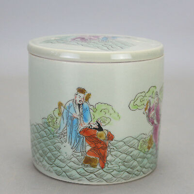 China old famille rose porcelain Hand painted Eight Immortals Cricket cans  c02