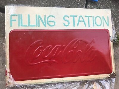 coca cola sign vintage tin metal advertising soda pop sign old gas station rust