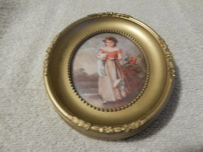 "Vintage Chums Picture With Oval Frame By Jane Freeman Used 6 1/4"" X 5 1/4"""
