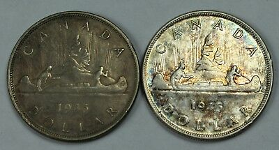 2x 1945 Canadian 80% Silver Dollar Lot Canada $1 Old Coins NR Free Ship P3R