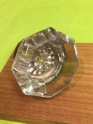 Reclaimed Architectural Antique Door Knob Metal 8 Points Glass 2-1/8 Clear Glass
