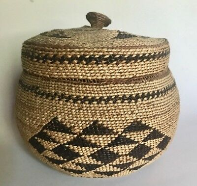 Antique HUPA DECORATED TWINED BASKET w ORIGINAL COVER, c. 1900-1930s