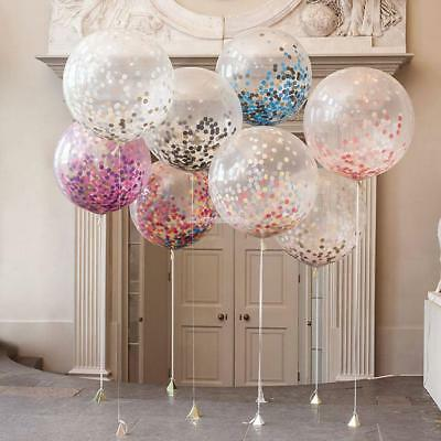 5 Clear Big Latex Balloon Confetti Sequins Filled Wedding Party Decor 7 Inch EN2