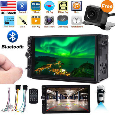 7inch 2DIN Car MP5 MP3 Player Bluetooth Touch Screen Stereo Radio HD+Rear Camera