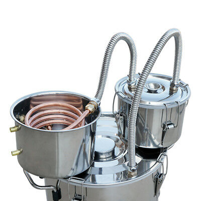 3 Pots 5Gal Alcohol Distiller Moonshine Still Boiler Stainless Steel Copper AU