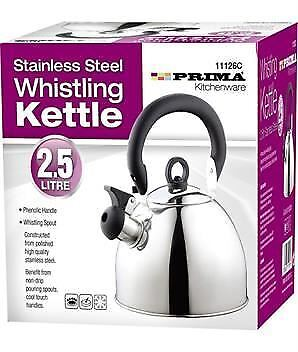 Prima Stainless Steel Whistling Kettle 2.5 Litre Home Kitchen Camping Caravan