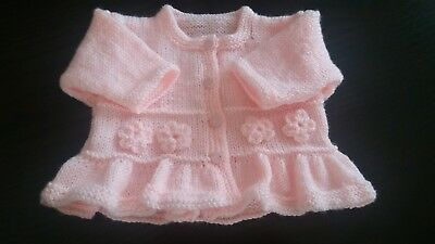 Baby girls hand knitted cardigan 3 - 6   pale peach