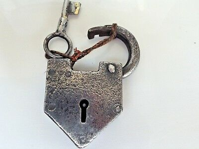 Stunning Antique Hand Made Cast Iron Heavy Padlock & Key in Full Working Order