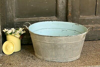 Vintage Metal Galvanized Bath Bowl Old Wash Tube Vintage Garden Decor Wash Pot