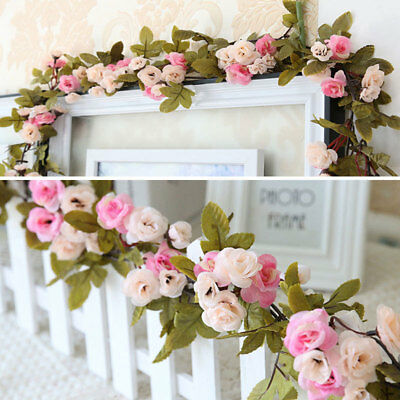 Vintage Decor Artificial Rose Flower Pink/Purple Garland Home Wall Party Hanging