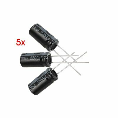 5 x 2200UF 16V 105C Radial Electrolytic Capacitor 10x20mm M6R4P
