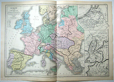 Original French Map of Europe in the Year 1715 by Drioux & Leroy Paris 1884