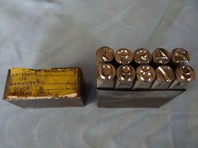 """Vintage 3/8"""" (9mm) J H Shand Numerical set of 10 Punches / Metal Stamps"""